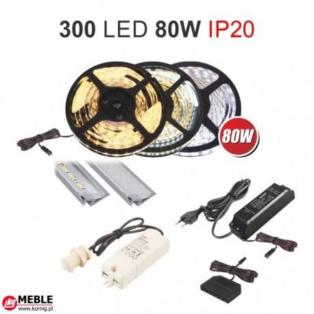Zestaw 80W taśmy 300 LED 80W IP20