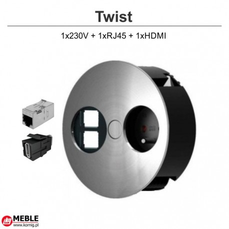 Gniazdo Twist 1x230V + 1xRJ45 + 1xHDMI
