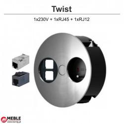 Gniazdo Twist 1x230V + 1xRJ45 + 1xRJ12