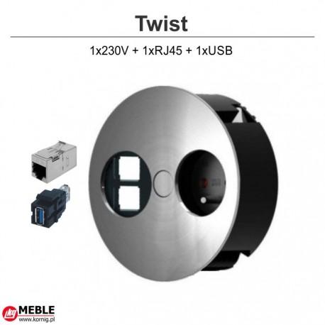 Gniazdo Twist 1x230V + 1xRJ45 + 1xUSB