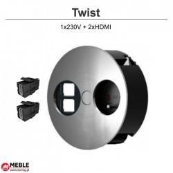 Gniazdo Twist 1x230V + 2xHDMI