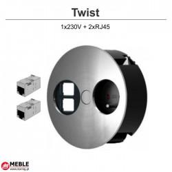 Gniazdo Twist 1x230V + 2xRJ45