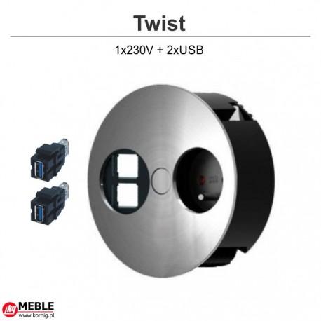 Gniazdo Twist 1x230V + 2xUSB