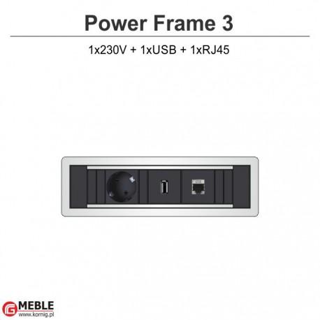 Power Frame-3 230V+USB+RJ45
