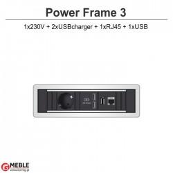 Power Frame-3 230V+2xUSBcharger+RJ45+USB