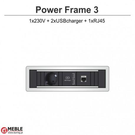 Power Frame-3 230V+2xUSBcharger+RJ45