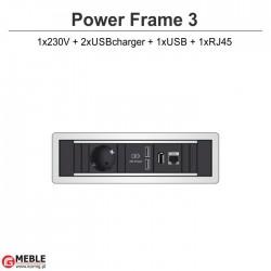 Power Frame-3 230V+2xUSBcharger+USB+RJ45