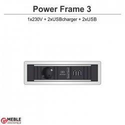 Power Frame-3 230V+2xUSBcharger+2xUSB