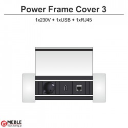 Power Frame Cover-3 230V+USB+RJ45