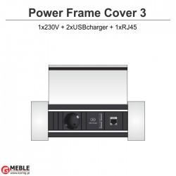 Power Frame Cover-3 230V+2xUSBcharger+RJ45