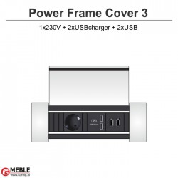 Power Frame Cover-3 230V+2xUSBcharger+2xUSB