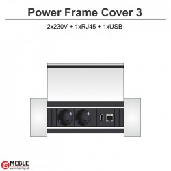 Power Frame Cover-3 2x230V+RJ45+USB