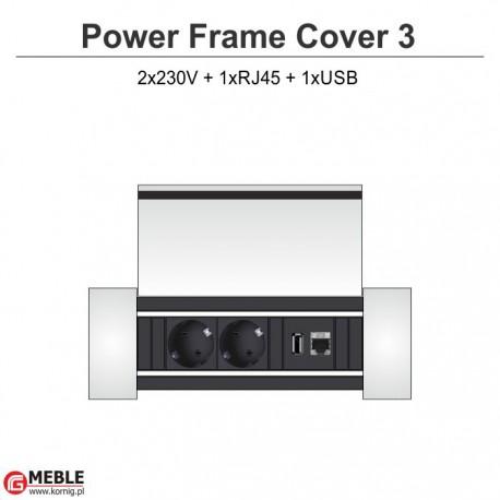 Power Frame Cover-3 2x230V+RJ45+USB