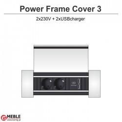 Power Frame Cover-3 2x230V+2xUSBcharger