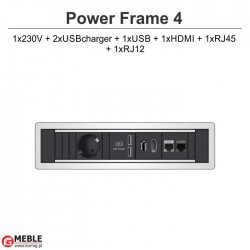 Power Frame-4 230V+2xUSBcharger+USB+HDMI+RJ45+RJ12