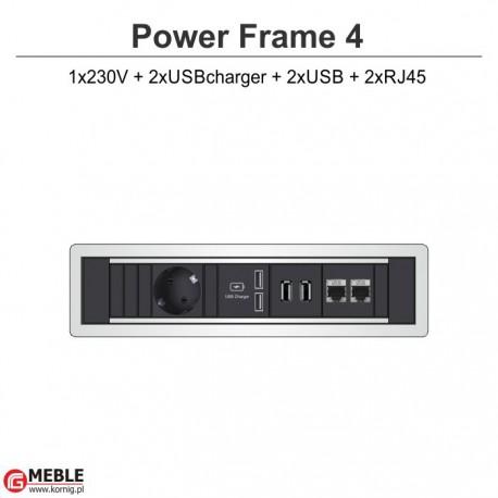 Power Frame-4 230V+2xUSBcharger+2xUSB+2xRJ45