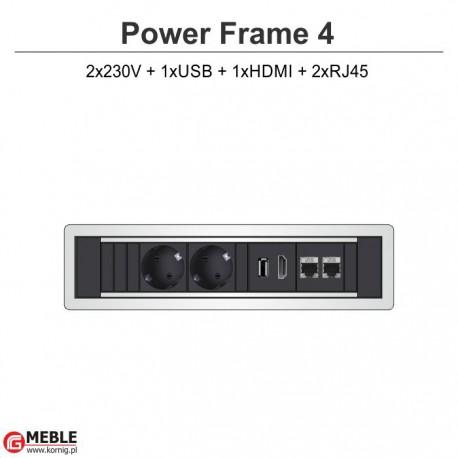 Power Frame-4 2x230V+USB+HDMI+2xRJ45