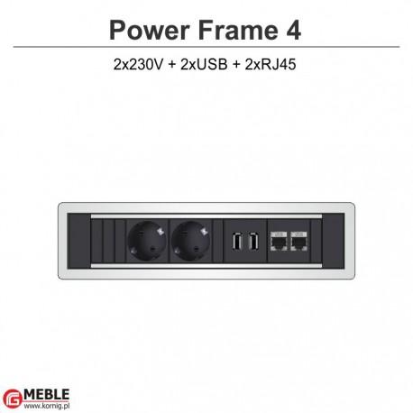 Power Frame-4 2x230V + 2xUSB + 2xRJ45