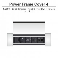 Power Frame Cover-4 2-1x230V + 2xUSBcharger + 1xUSB + 1xHDMI + 1xRJ45 + 1xRJ12
