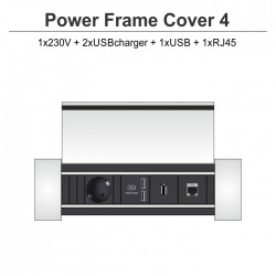 Power Frame Cover-4 1x230V + 2xUSBcharger + 1xUSB + 1xRJ45