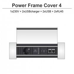 Power Frame Cover-4 1x230V + 2xUSBcharger + 2xUSB + 2xRJ45