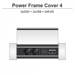Power Frame Cover-4 2x230V + 2xUSB + 2xRJ45
