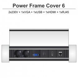 Power Frame Cover-6 2x230V + 1xVGA + 1xUSB + 1xHDMI + 1xRJ45