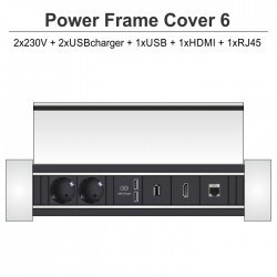 Power Frame Cover-6 2x230V + 2xUSBcharger + 1xUSB + 1xHDMI + 1xRJ45