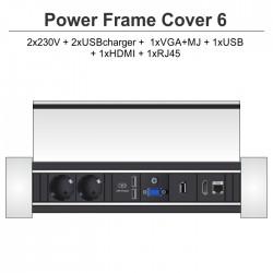 Power Frame Cover-6 2x230V + 2xUSBcharger + 1xVGA+MJ + 1xUSB + 1xHDMI + 1xRJ45