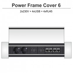Power Frame Cover-6 2x230V + 4xUSB + 4xRJ454