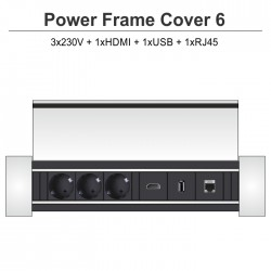 Power Frame Cover-6 3x230V + 1xHDMI + 1xUSB + 1xRJ45