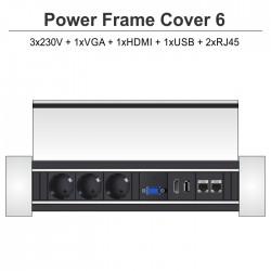 Power Frame Cover-6 3x230V + 1xVGA + 1xHDMI + 1xUSB + 2xRJ45