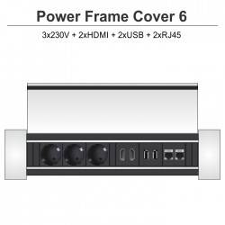Power Frame Cover-6 3x230V + 2xHDMI + 2xUSB + 2xRJ45