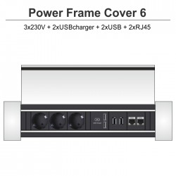 Power Frame Cover-6 3x230V + 2xUSBcharger + 2xUSB + 2xRJ45