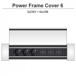 Power Frame Cover-6 3x230V + 6xUSB