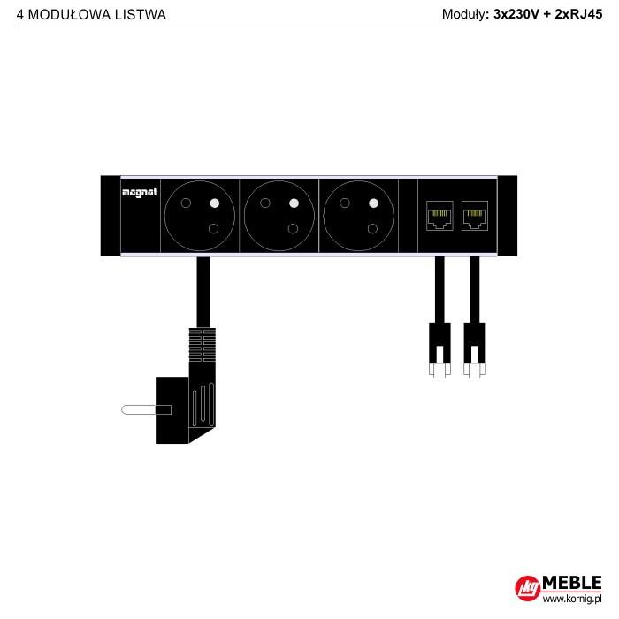 4-modułowa z kablami 3x230V+2xRJ45