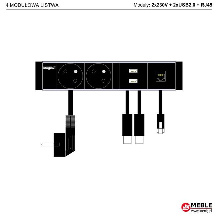 4-modułowa z kablami 2x230V+2xUSB2.0+RJ45