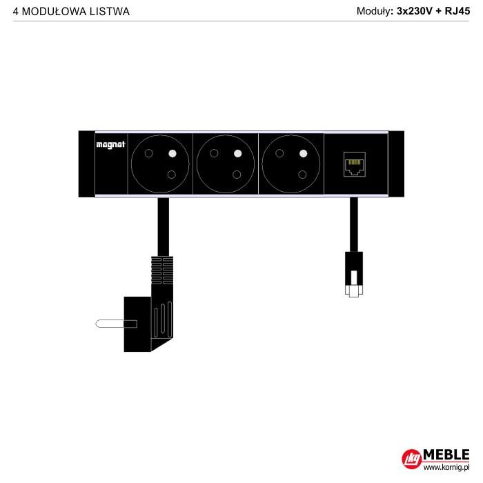 4-modułowa z kablami 3x230V+RJ45