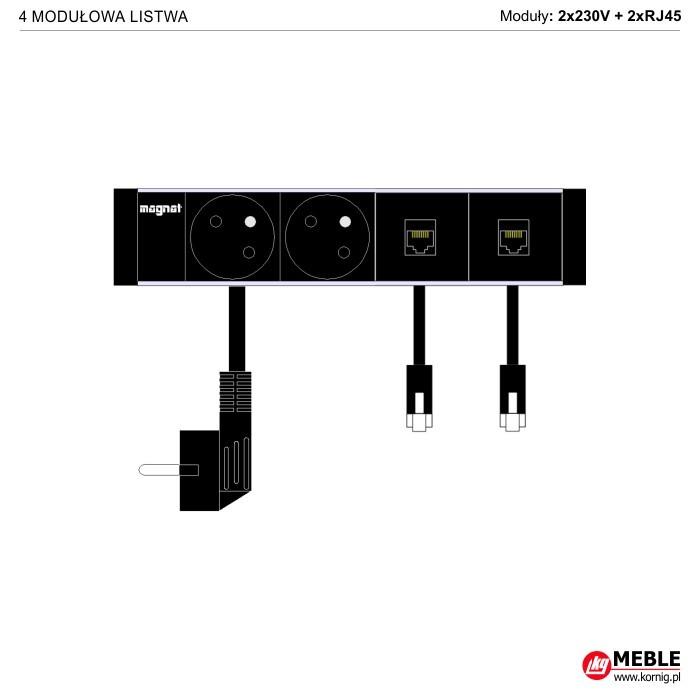 4-modułowa z kablami 2x230V+2xRJ45