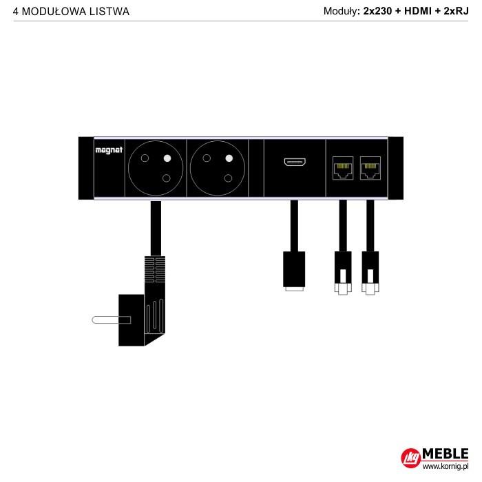 4-modułowa z kablami 2x230V+HDMI+2xRJ45