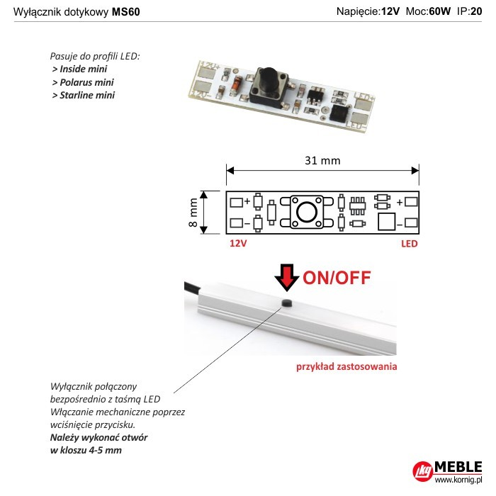 Wyłącznik dotykowy MS60 (do profili led)