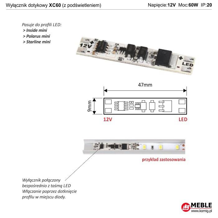 Wyłącznik dotykowy z podświetleniem XC60 (do profili led)