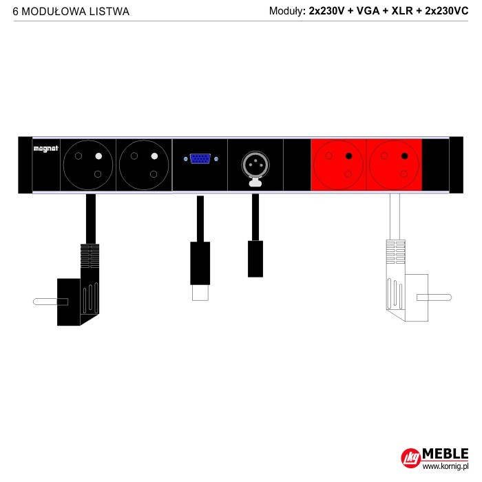 6-modułowa z kablami 2x230V+VGA+XLR+2x230VC