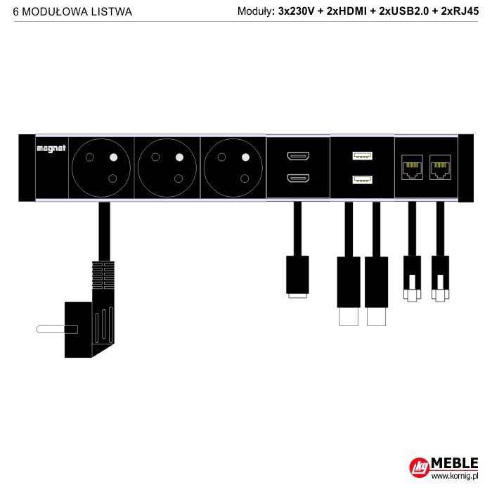6-modułowa z kablami 3x230V+2xHDMI+2xUSB2.0+2xRJ45