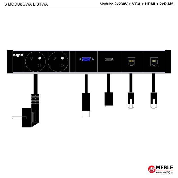 6-modułowa z kablami 2x230V+VGA+HDMI+2xRJ45