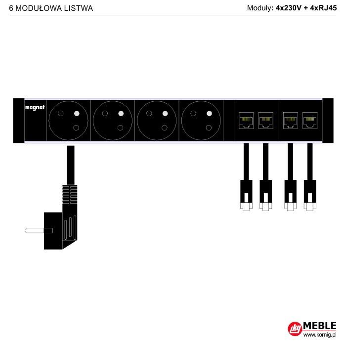 6-modułowa z kablami 4x230V+4xRJ45