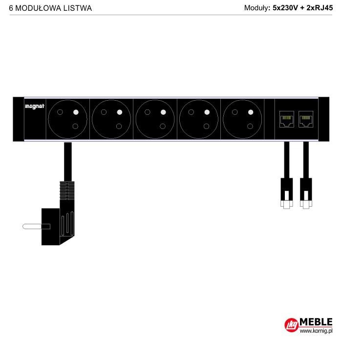 6-modułowa z kablami 5x230V+2xRJ45