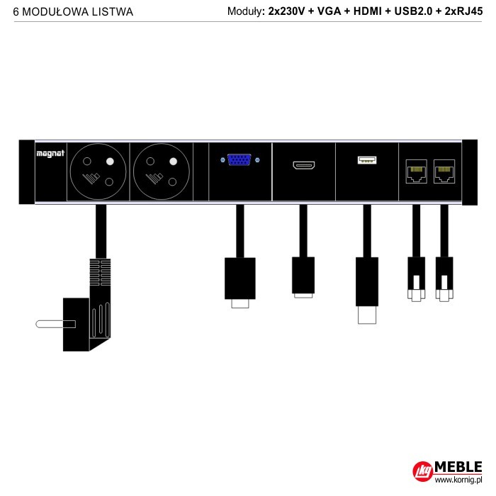 6-modułowa z kablami 2x230V+VGA+HDMI+USB2.0+2xRJ45