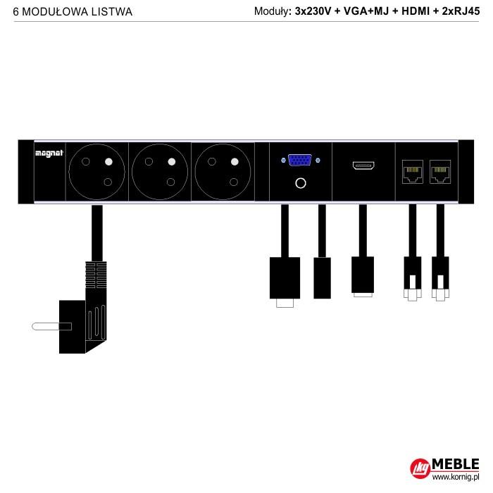 6-modułowa z kablami 3x230V+VGA+MJ+HDMI+2xRJ45