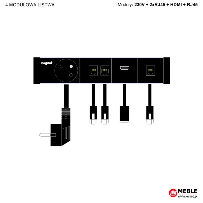 4-modułowa z kablami 1x230V+2xRJ45+HDMI+RJ45